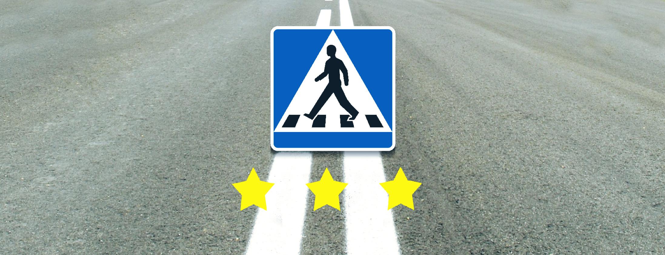 """En """"Herr Går Man"""" skylt som visar att det kommer ett övergångsställe med tre stjärnor på."""