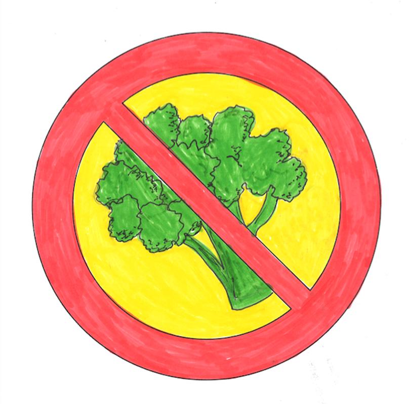 En förbudsskylt mot broccoli