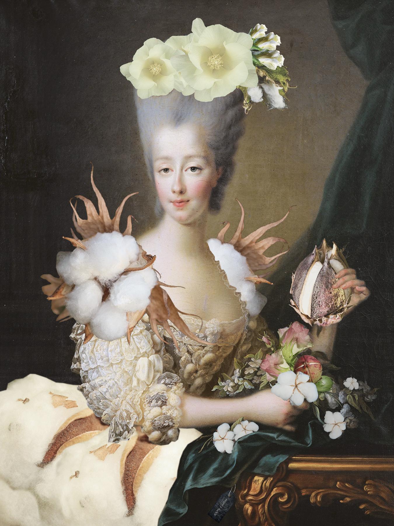 En 1700-tals dam med vit peruk och en stor klänning som är gjord av massor av olika plantor.
