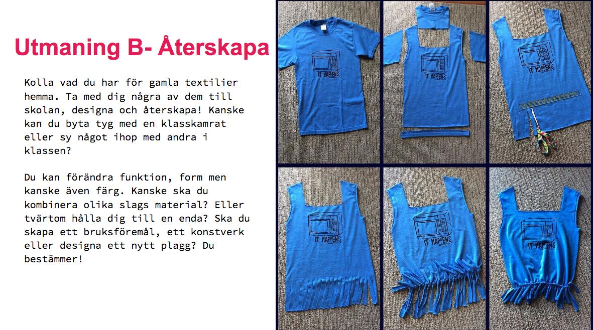 Sex olika bildar av hur man kan klippa och sy om en vanlig T-shirt till nya varianter av plagget.