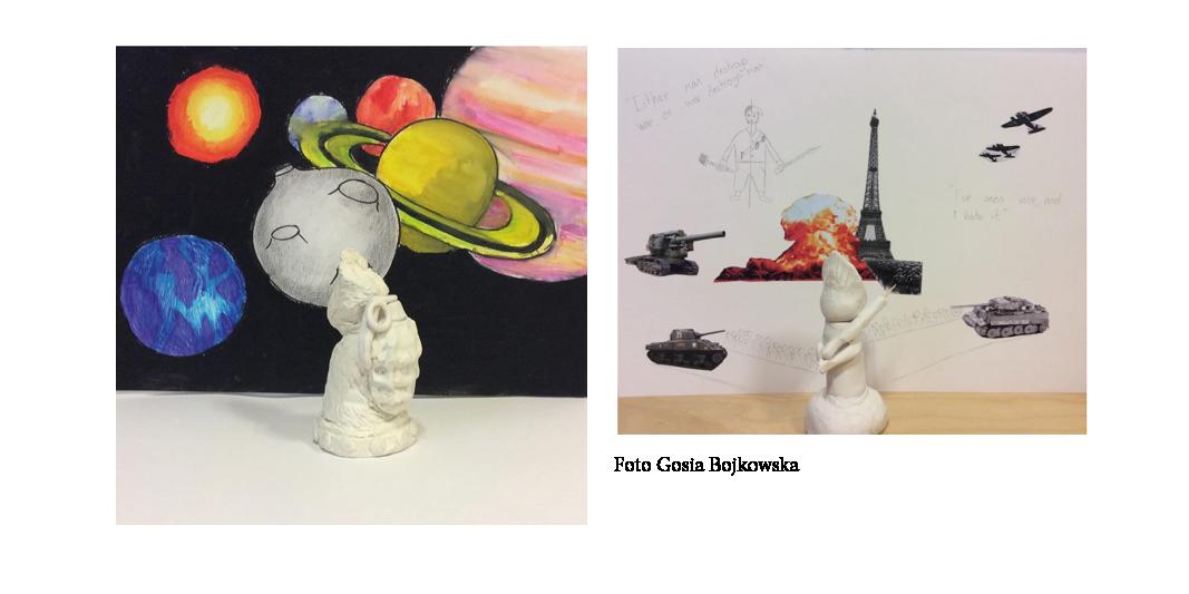 Två fotografier av lerfigurer framför teckningar på planeter och stridsvagnar och Eiffeltornet.