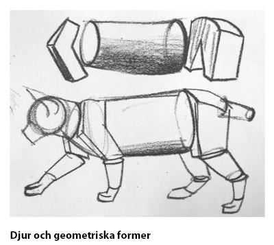 Bilden föreställer en hund med geometriska figurer