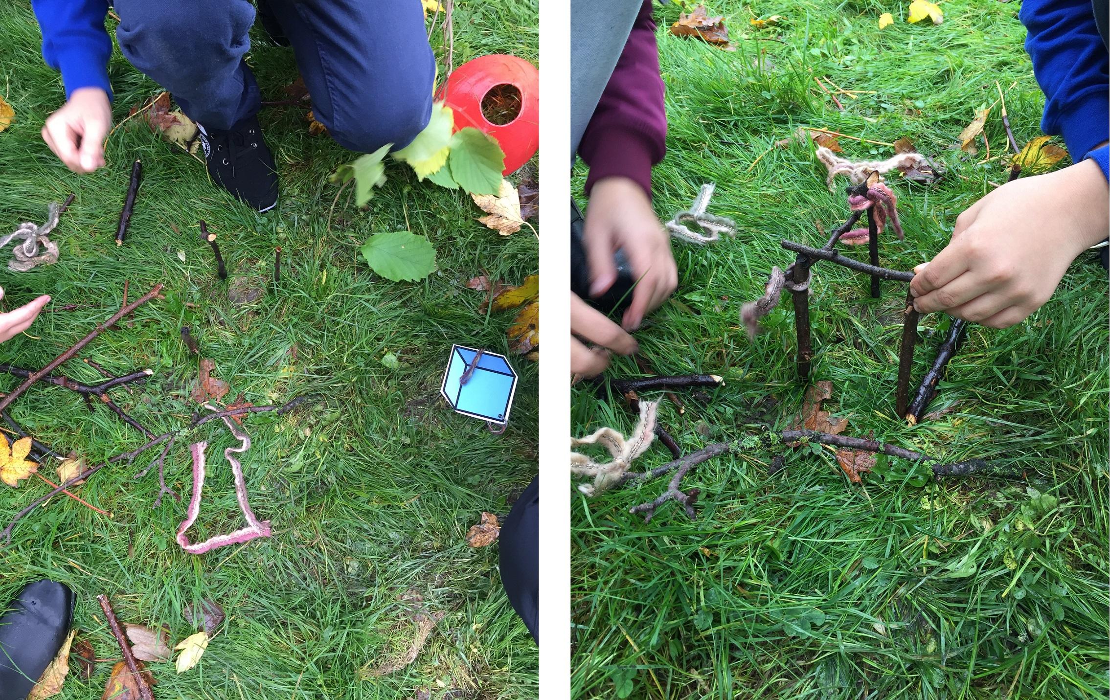 Bilden föreställer elever som bygger en geometrisk kropp av pinnar och garnbitar.