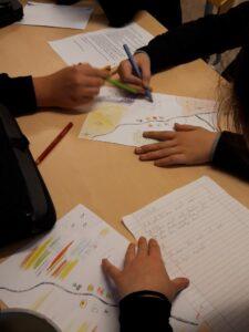 Elever som ritar kartor